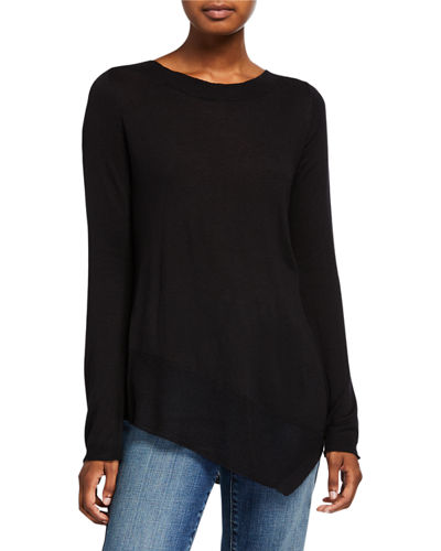 3/4-Sleeve  Wide-Neck Top with Uneven Hem