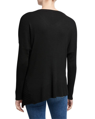 Ribbed Asymmetric-Hem Sweater