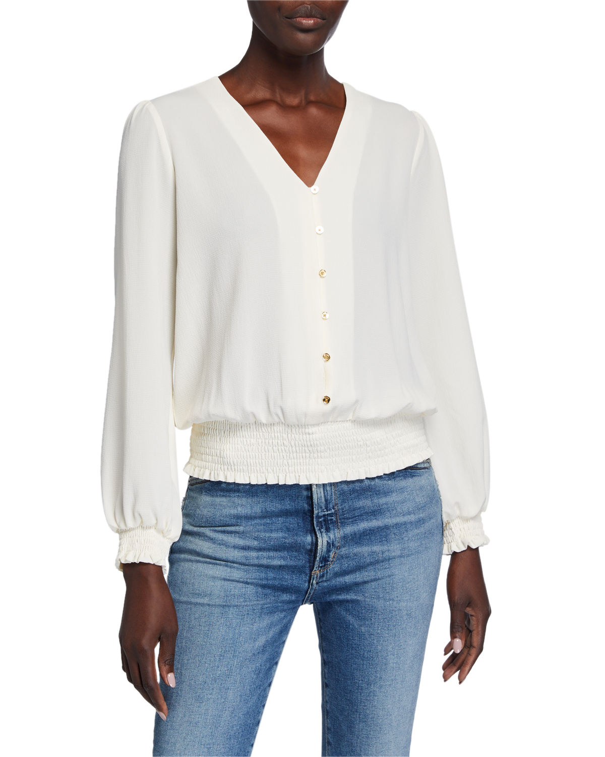 Michael Michael Kors Downs BUTTON DOWN SMOCKED BLOUSE