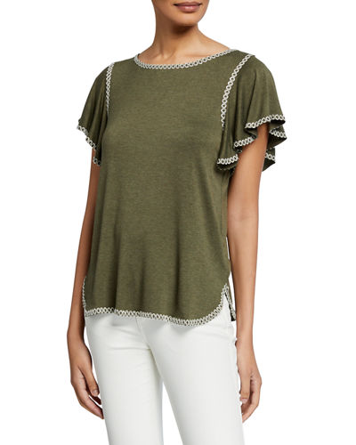 Contrast Stitched Flutter-Sleeve Top