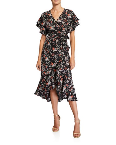 Floral-Print Flutter-Sleeve Wrap Dress