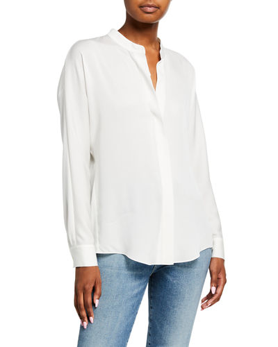 Banded-Collar Concealed-Placket Silk Blouse