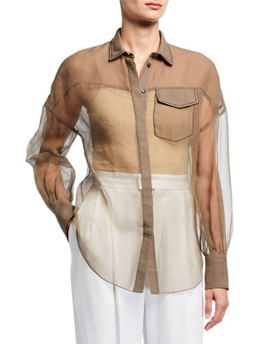 Brunello Cucinelli Button-Down Monili Trim Silk Top
