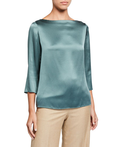 Boatneck Silk Blouse