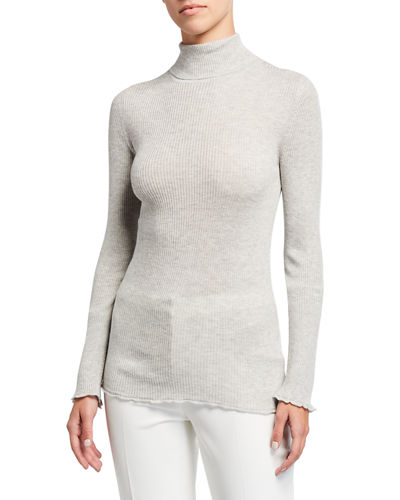 Ribbed Turtleneck Cashmere-Blend Top