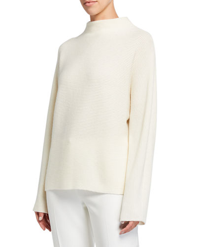 Ribbed Wool-Cashmere Funnel-Neck Sweater