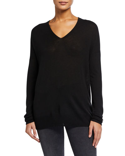 V-Neck Seamless Tunic Sweater