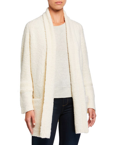 Textured Shawl-Collar Cardigan