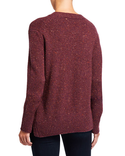 Long Sleeve Alpaca-Blend Asymmetric Pullover
