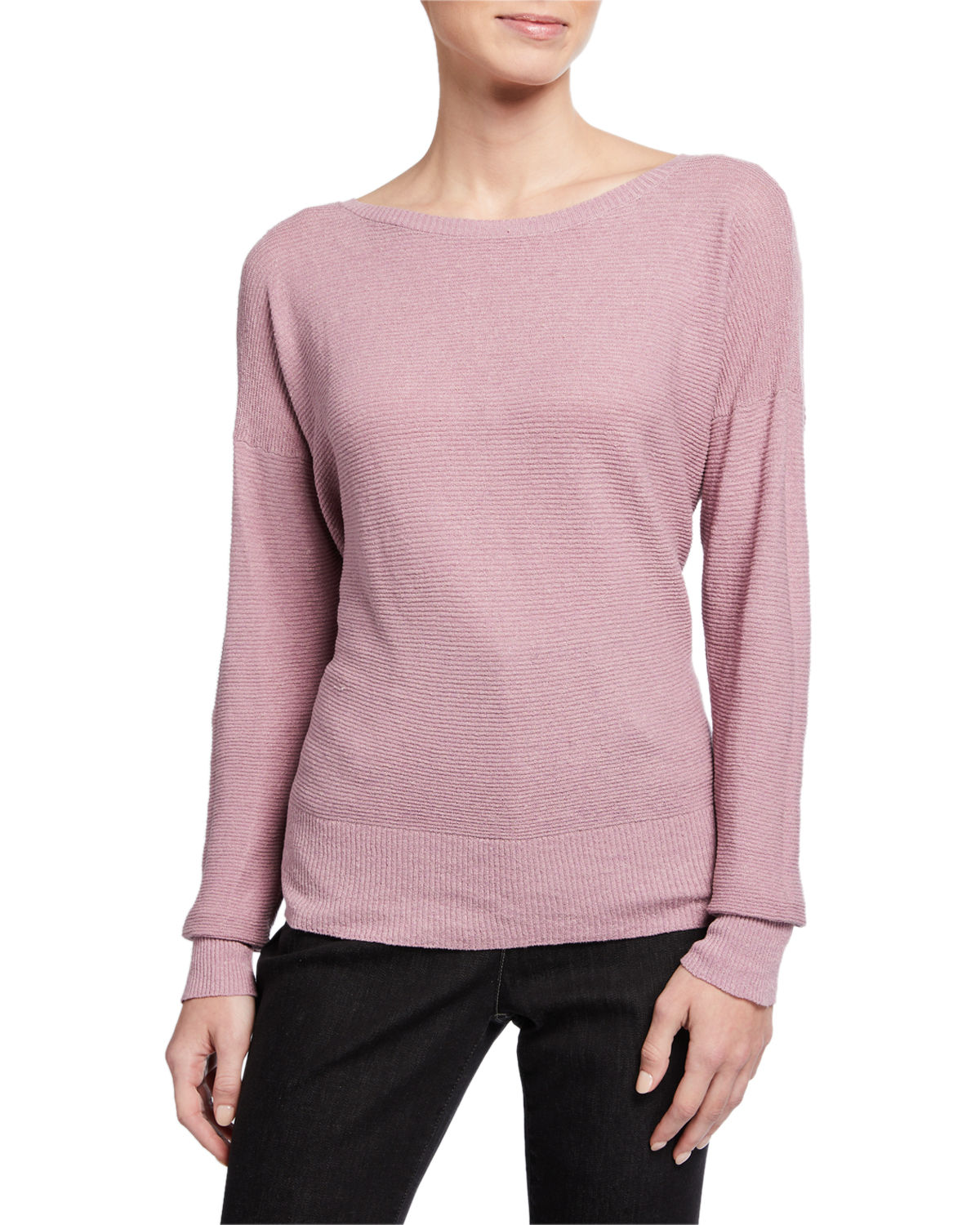 Eileen Fisher PLUS SIZE ORGANIC LINEN CREPE BATEAU-NECK SWEATER