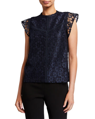 Lace High-Neck Cap-Sleeve Stitched Blouse