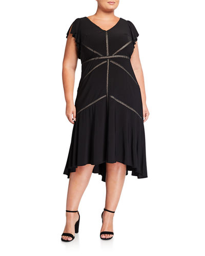 Plus Size Jersey Stitched Midi Dress