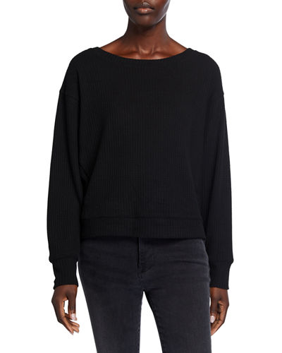 Dolman-Sleeve Waffle Weave Pullover