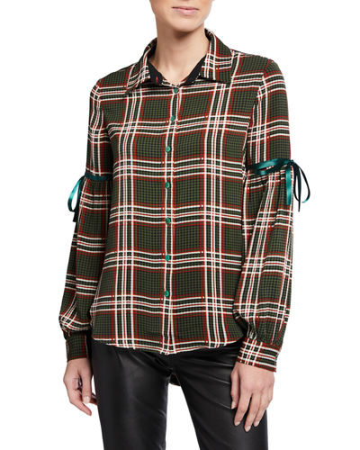 Plaid Shirttail Button-Down Top