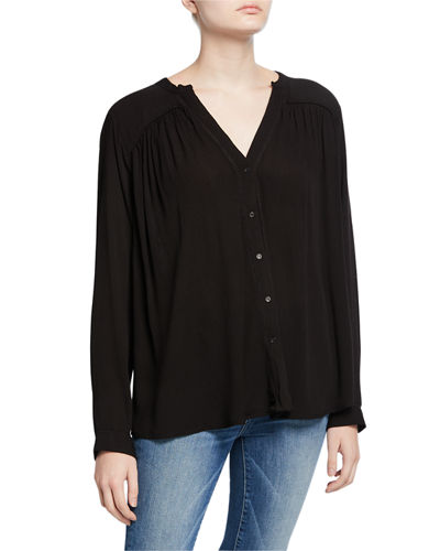 Split-Neck Button-Down Top