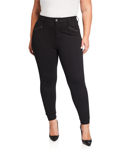 Plus Size High-Rise Zip Ponte Leggings