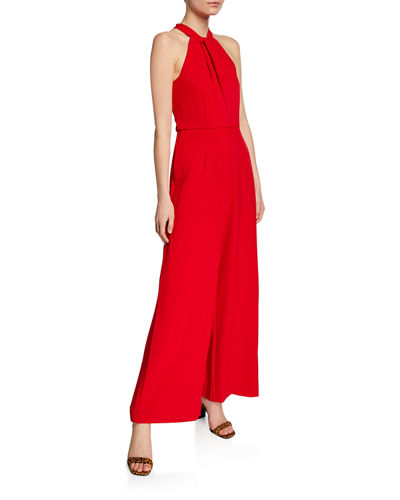 Twist-Neck Wide-Leg Halter Jumpsuit