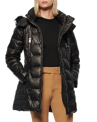 Pomona 30 Down Puffer Coat With Faux Fur