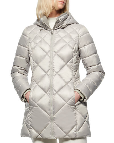 Diamond Quilted Lacquer Puffer Coat