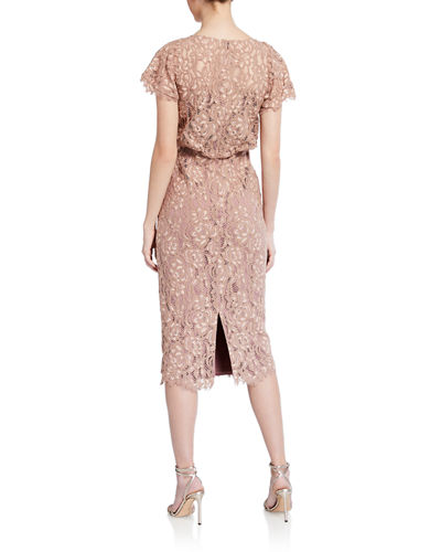 Embroidered Lace Flutter-Sleeve Dress