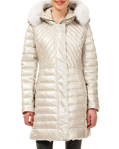 Zip-Front Quilted Puffer Apres-Ski Jacket w/ Detachable Fox Hood Trim