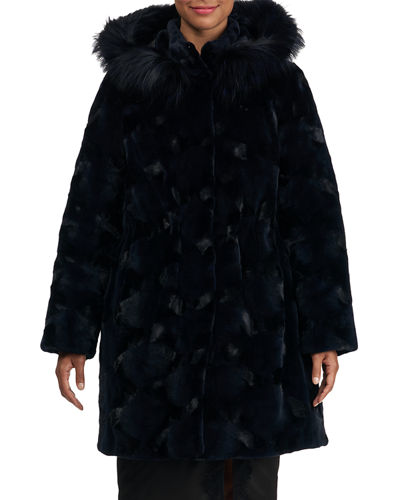 Sectioned Mink Fur Parka Coat with Fox Hood
