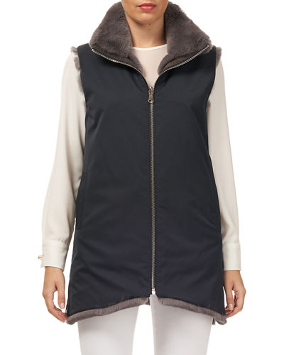Horizontal Rex Rabbit Fur Reversible Zip-Front Vest