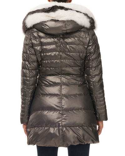 Apres-Ski Quilted Puffer Jacket w/ Detachable Fox-Fur Hood Trim