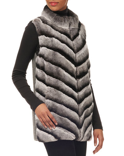 Chevron Rex Rabbit Fur Zip-Front Vest w/ Knit Back