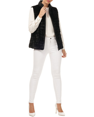 Zip-Front Grooved Mink Sections Fur Vest