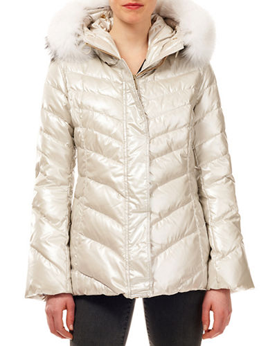 Après-Ski Metallic Quilted Puffer Jacket w/ Detachable Fox-Fur Trim