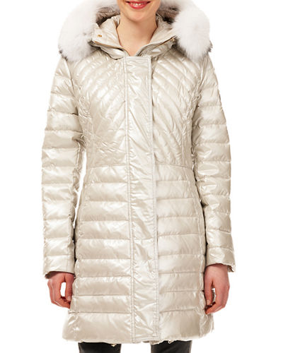Quilted Apres-Ski Puffer Jacket w/ Detachable Fox-Fur Trim