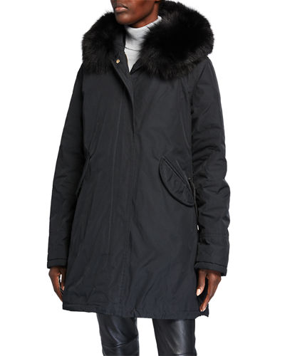 Apres Ski Fox Fur Trim Hooded Parka with Detachable Down Vest