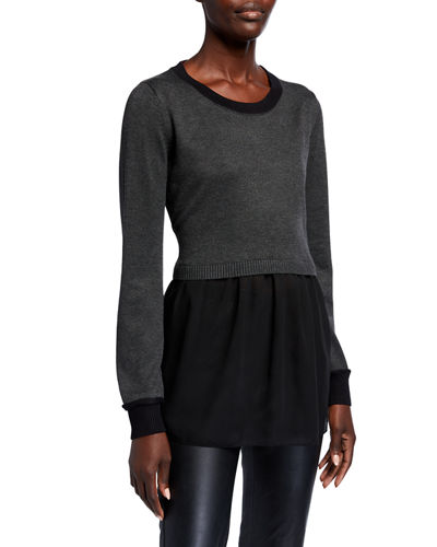 Long-Sleeve Chiffon Hem Sweater