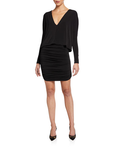 Ruched Long Sleeve Cape Dress