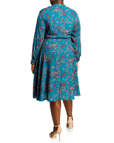 Plus Size Long-Sleeve Printed Henley Pintuck Dress