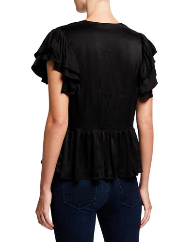 V Neck Ruffle-Sleeve Peplum Blouse w/ Self Buttons