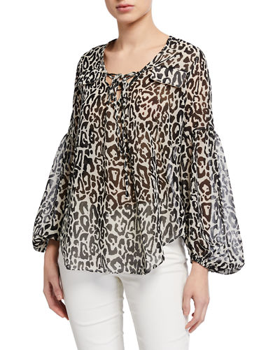 The Charmed Animal-Print Lace-Up Blouse