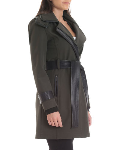Thermotech Trench Coat with Faux-Leather Trim
