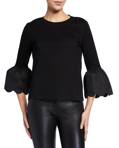 Scallop Bell Sleeve Cotton T-Shirt