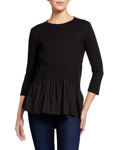 High-Low 3/4 Sleeve Peplum High-Low Top