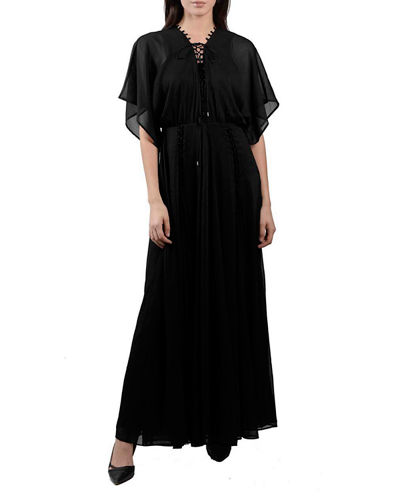 Lace-Up Maxi Dress  With Flutter Sleeves