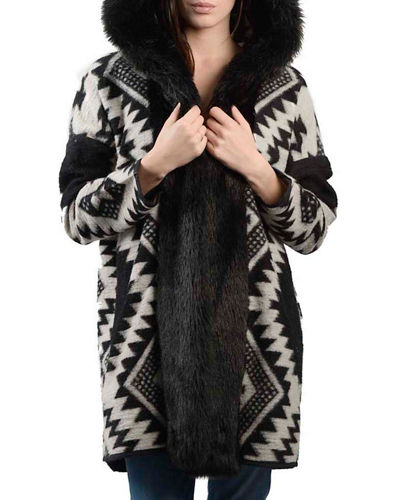 Aztec Faux-Fur Hooded Coat