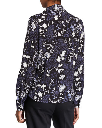 Floral Double-Button Long-Sleeve Shirt