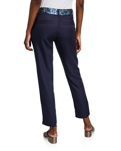 Straight-Leg Ankle Trousers w/ Satin Tie