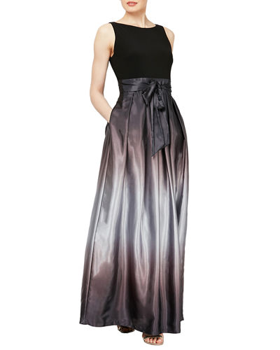 Sleeveless Ombre Satin Long Party Dress