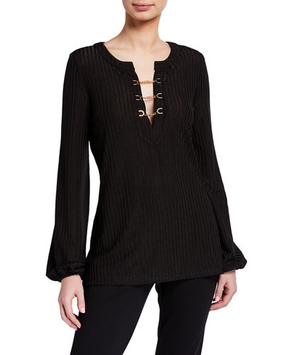 Chain-Neck Long-Sleeve Top