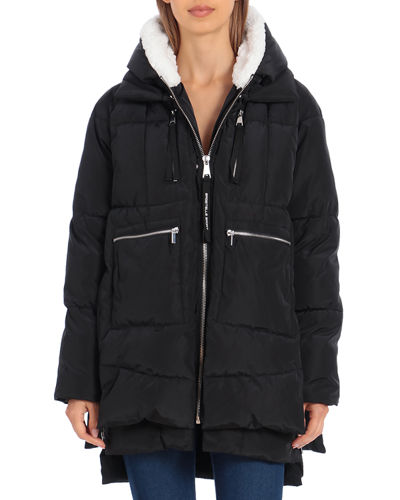 Water-Resistant Layered Puffer Coat