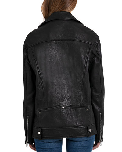 Leather Oversized Biker Jacket