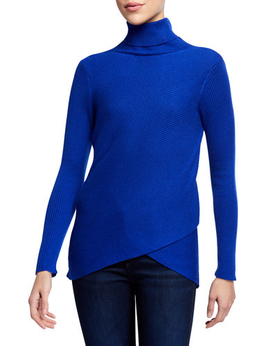 Ribbed Turtleneck Wrap Pullover